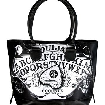 Liquorbrand Ouija Board Gothic Witch Expandable Zipper Shoulder Tote Bag