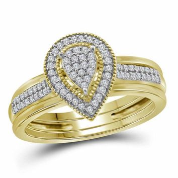 10kt Yellow Gold Women's Diamond Teardrop Cluster Bridal Wedding Engagement Ring Band Set 1/5 Cttw - FREE Shipping (US/CAN)