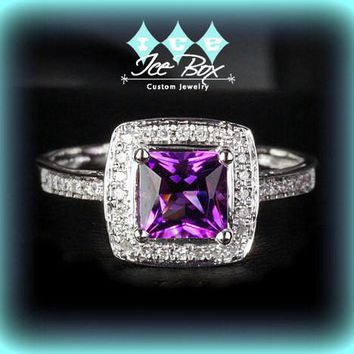 Amethyst Engagement Ring 1.8ct Princess Cut  in a 14k White Gold Diamond Single Halo setting