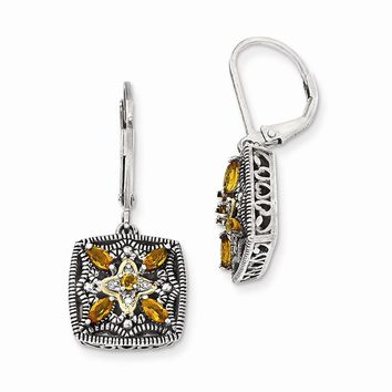 Antique Style Sterling Silver with 14k Gold Diamond & Citrine Earrings
