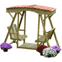 LuxCraft Rollback Double Lawn Glider With Cedar Roof
