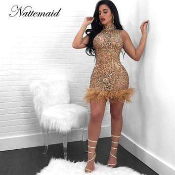 NATTEMAID Sleeveless Vintage Sequin Dress Women Mesh Sexy Clubwear Dress Elegant Mini Dress Vestido De Festa 2018 Clearance Sale