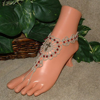 Crochet Cross Barefoot Sandals, Cross Jewelry, Toe Rings, Beach Sandals, Anklet, Foot Jewelry, Footless, Beachwear