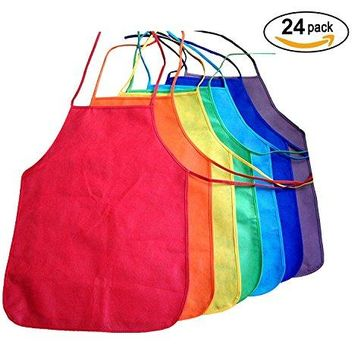 Multicolor Kids Artists Apron Set of 24 - Open Back Sleeveless Art Craft Smock Aprons | Children's Assorted Variety Pack of 24 Colorful DIY Protective Reusable Kitchen | Painting Aprons Ages 3 and Up