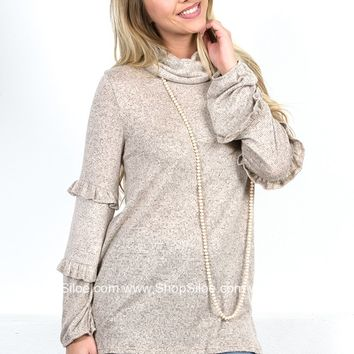 Leo Ruffle Grey Sweater
