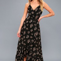 Adanna Black Floral Print Wrap Maxi Dress