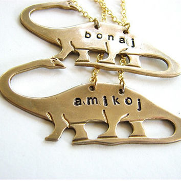 best friends brontosaurus necklace set in ESPERANTO - dinosaur jewelry