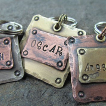 Pet Tags - Pet ID Tag - Pet Tag - Mixed Metals Copper, Brass or Nickel
