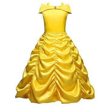 Girls Cartoon Dress Kids Shoulderless Yellow Fancy Dress Children Cosplay Beauty Beast Belle Princess Costumes Party Dress Girls