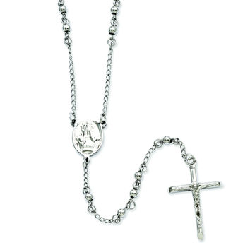 Stainless Steel 4mm Bead Rosary Necklace SRN808