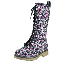 Womens Mid Calf Boots Lace Up Combat Floral Print Casual Shoes Black SZ