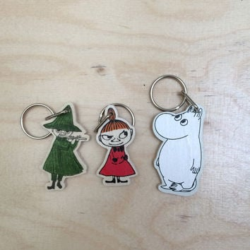 Little My, Moomintroll and Snufkin keyrings