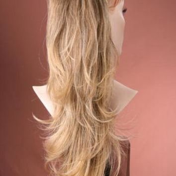 Luxurious Hair Piece Extensions Brown & Lighter Tip Ombre/Balayage