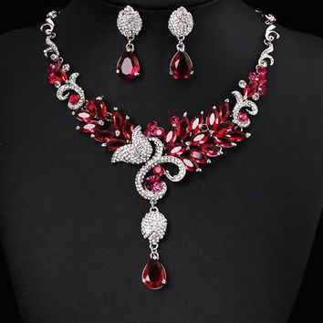 Red Bridal Jewelry Set