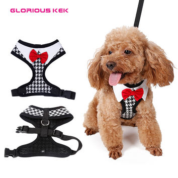 2016 New Small Dog Walking Harness Fashion Red Bow Tie Tuxedo Dog Collar Harness Houndstooth Puppy Vest Harness Pet Chest Strap