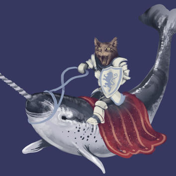 Cat riding Narwhal T-shirt Available S-2XL