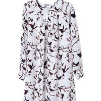 Summer Print Long Sleeve Round-neck One Piece Dress [4917830596]