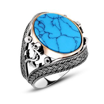 Turquoise gemstone anchor sterling silver mens ring