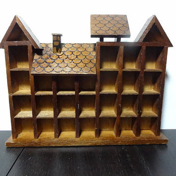 Vintage Wooden House Shaped Shelf for Miniature/Micro Figurines