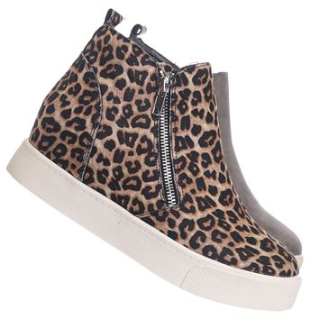 Taylor High Top Hidden Wedge Sneaker  - Women Zipper Laceless Round Toe Shoe