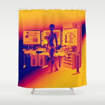 Alien Female Console Station HD Infared Shower Curtain by apgme