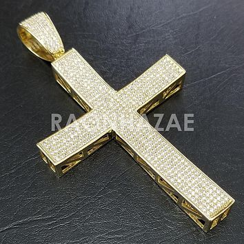 New Lab diamond Micro Pave JUMBO Jesus Cross Pendant.