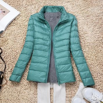 Women Ultra Light Down Jacket New Autumn Winter White Duck Down Lightweight Parkas Ladies Warm Slim Thin Coat Plus Size SF0422