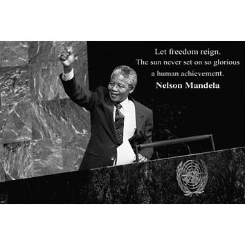 Nelson Mandela at UNITED NATIONS quote INSPIRATIONAL POSTER 24X36 freedom