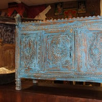 Distressed Antique India Handcarved Console Chest Damchia Banjara Tribal Sideboard Buffet 18c