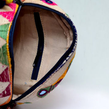 Tribal Vintage Canteen-Shaped Handbag with Embroidery, Antique Threadwork and Tassels