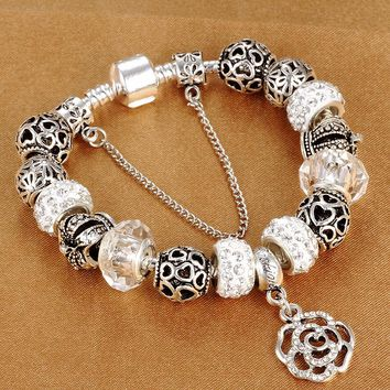 HOMOD Dropshipping snake chain charm bracelet with flower rose dangle charms  Pandora bracelet women diy