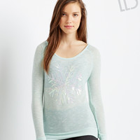Aeropostale  LLD Long Sleeve Shimmer Snowflake Knit Top