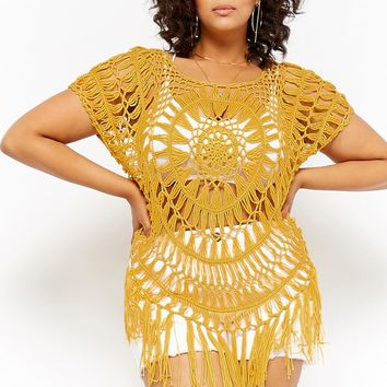 Plus Size Fringe-Trim Top