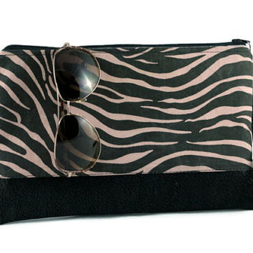 Zebra print, faux leather accent bag, date night clutch, hand purse, zippered pouch, bridesmaid clutch.