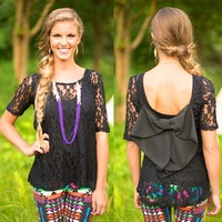 Lace Talk About It Top in Black