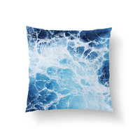 Blue Ocean Surf 3 - Throw Pillow Cover, Ocean Nautical Style Decor Home Furnishing Accent Pillow Throw. In 14x14 16x16 18x18 20x20 26x26