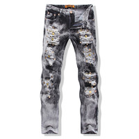 Jeans for Men Embroidered Skull Gray Jeans Rivet Ripped Distrressed Washed