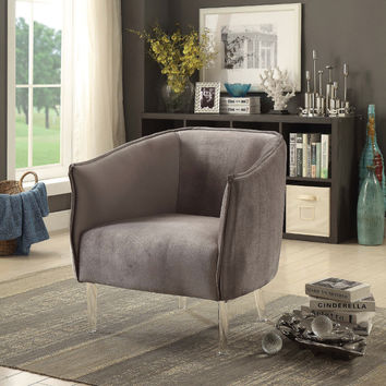 Furniture of america CM-AC6348GY Donostia gray flannelette fabric barrel back accent chair