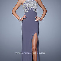 High Neck La Femme Prom Dress