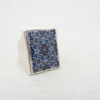 Blue Arabesque Resin Ring, Retro Mediterranean Geometric Resin Unisex Jewelry