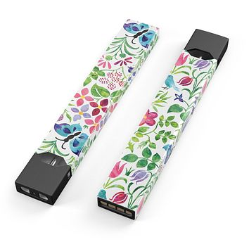 Skin Decal Kit for the Pax JUUL - Butterflies and Flowers Watercolor Pattern