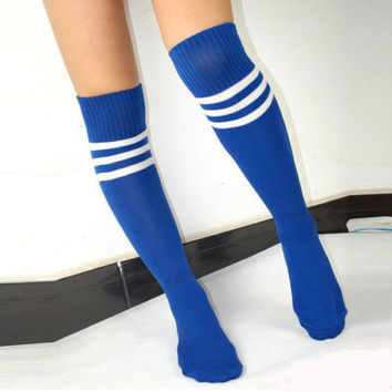 7ff2c2857 Women s Football Striped Long Tube Socks Soccer Lacrosse Rugby Sport Knee  High Blue Socks