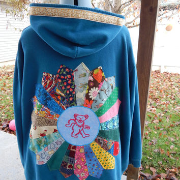 Upcycled Zip Up Hoodie Blue Patchwork Mandala Grateful Dead Dancing Bear OOAK Womens Size 5XL  Hippie clothes, upcycled hoodie, plus size