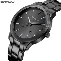 Fashion Black Full Steel Men Casual Quartz Watch Men Clock Male Military Wristwatch Gift Relojes Hombre CRRJU Brand Women watch