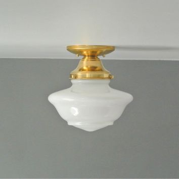 Brass Schoolhouse Flush Mount Light
