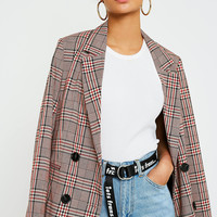 UO Bold Red Check Blazer | Urban Outfitters