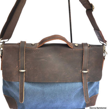 Sienna Bartolomei quality  leather/canvas office shoulder and tote bag, messenger bag, laptop bag, comfort fashion bag,