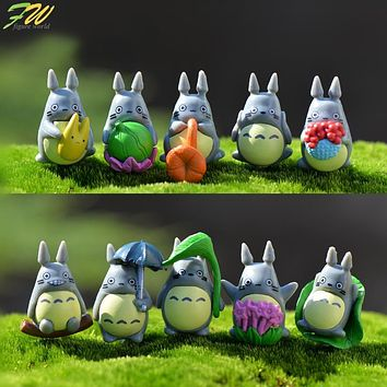 (10pcs/lot) my neighbor Totoro action figure gifts doll cute miniature figurines Toys 1-3cm PVC plactic japanese anime1601129