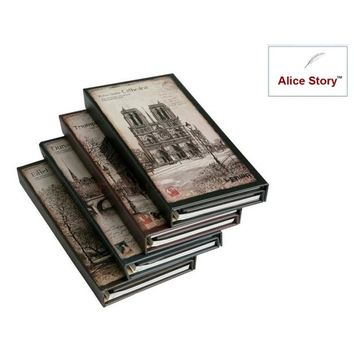 Vintage romantic city hardcover 3-fold notepad  memo small notebook 3 styles in 1 set