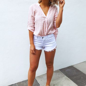 Summer Bliss Blouse: Pink/White